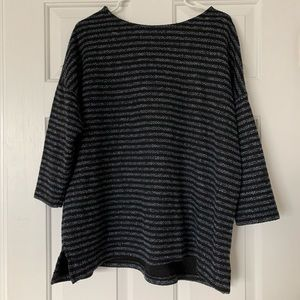 Oversized Striped Woven Tee